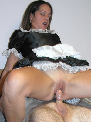 Cute petite chick dressed as a maid sucks dick and takes cock hard in pussy - XXXonXXX - Pic 9