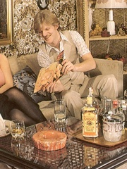 Two retro chaps fucking two horny girls - XXX Dessert - Picture 1