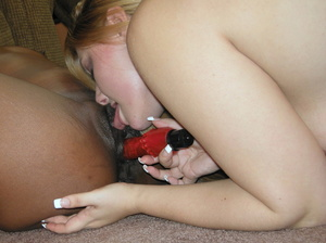 Creamy chick gets down with ebony babe for hot pussy licking and dildo fucking - XXXonXXX - Pic 9