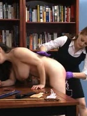 This randy brunette gets her juicy ass spanked in the library. - XXXonXXX - Pic 3
