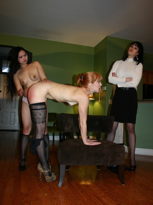 Randy redhead bending over to get her gorgeous ass spanked by a cute asian. - XXXonXXX - Pic 5