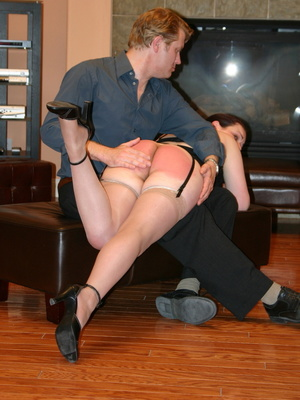 Saucy redhead bending over him and gets her gorgeous ass spanked. - XXXonXXX - Pic 1