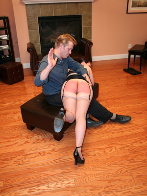Saucy redhead bending over him and gets her gorgeous ass spanked. - XXXonXXX - Pic 7