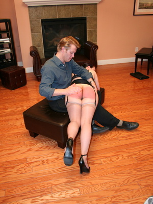 Saucy redhead bending over him and gets her gorgeous ass spanked. - XXXonXXX - Pic 12