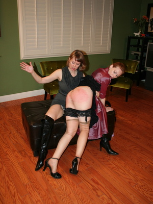 Gorgeous redhead gets her booty spanked by a randy brunette. - XXXonXXX - Pic 2