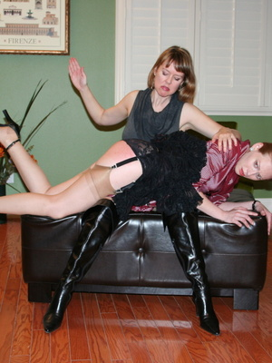 Gorgeous redhead gets her booty spanked by a randy brunette. - XXXonXXX - Pic 7