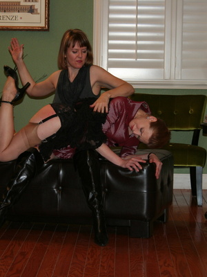 Gorgeous redhead gets her booty spanked by a randy brunette. - XXXonXXX - Pic 8