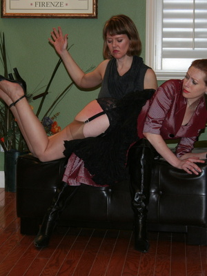 Gorgeous redhead gets her booty spanked by a randy brunette. - XXXonXXX - Pic 9