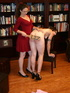 Horny brunette gets her magnificent booty spanked in the library.]Lena