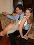 Sassy redhead daughter receiving a hard spanking…