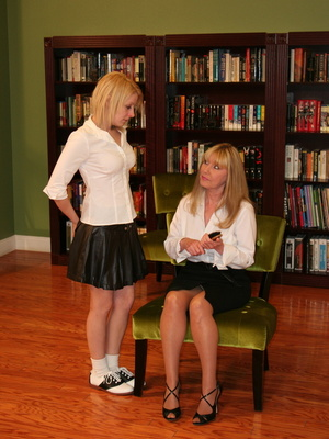 This sweet blonde teen gets her ass spanked by her blonde milf mother. - XXXonXXX - Pic 1