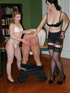These two saucy milfs with gorgeous big tits love spanking his ass.