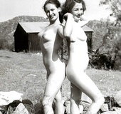 Hot sexy naked vintage beauties outdoors in the…