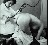 Vintage naked chicks are slapped hard and tied to…