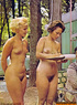 Awesome vintage ladies posing totally naked outdoors.