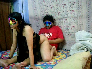 Horny Indian dude in a mask pounding hard hot chick in transparent gown - XXXonXXX - Pic 1
