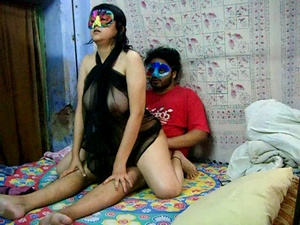 Horny Indian dude in a mask pounding hard hot chick in transparent gown - XXXonXXX - Pic 2