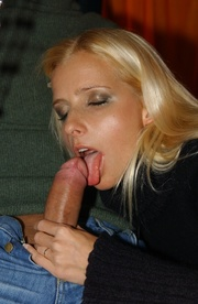 dressy blonde enjoys getting