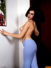 Busty retro brunette girl playing with - XXX Dessert - Picture 8
