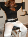 Naked black chubby housewife opens her - Picture 1