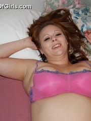 Big boobed playful fatty undressing and teasing in her - Picture 3