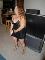 Busty BBW mom with huge breasts in her sexy black outfit - Picture 3