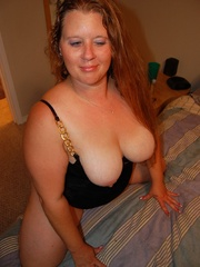 Busty BBW mom with huge breasts in her sexy black outfit - Picture 6