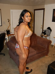 Lusty black chubby housewife spreading her legs wide sou - Picture 4
