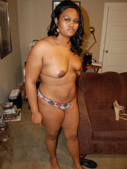 Lusty black chubby housewife spreading her legs wide sou - Picture 5