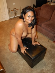 Lusty black chubby housewife spreading her legs wide sou - Picture 11