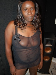 Busty black housewife has lovely mature pussy and huge - Picture 1