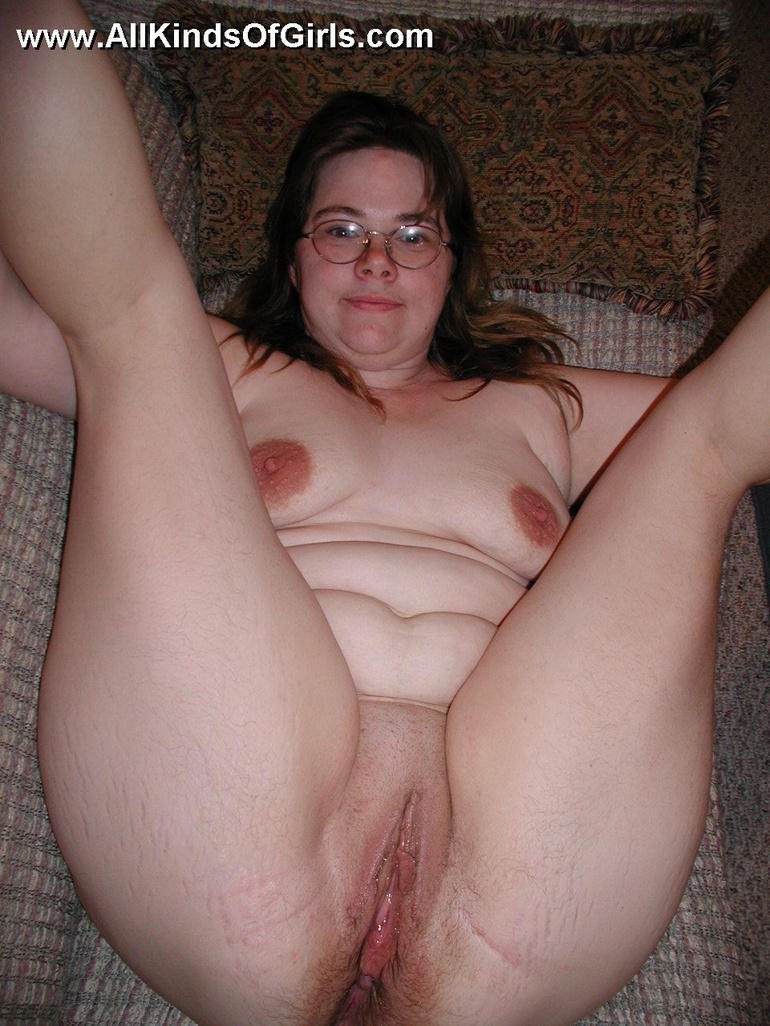 Shy chubby housewife taking off her panties
