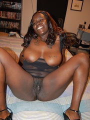 Busty black housewife has lovely mature pussy and huge - Picture 12