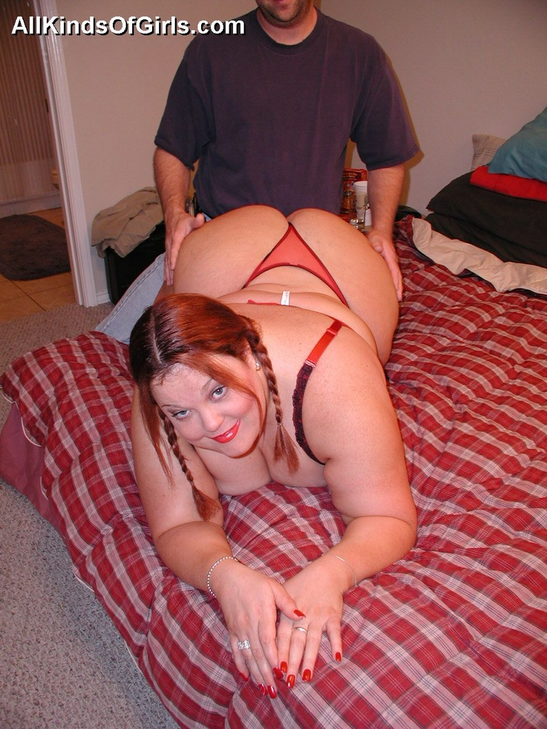 Pigtailed fat wife Debbie in red undies wants it badly - Picture 6
