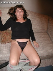 Big boobed slim granny slowly undressing in front of a - Picture 9