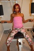Skinny little ebony mom undresses and exposes her petite body before taking