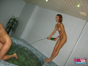 All Amatuer lesbian girlfriend orgy erupts at this sauna party! - Picture 15