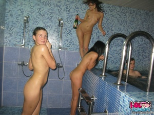 Five girls that work at a local spa have a party and things quickly become a teen lesbian orgy! - XXXonXXX - Pic 15