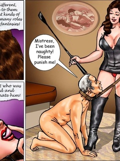 Horny mistress in high boots and corset punishing an - Picture 6