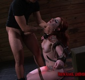 Ginger inked babe in cuffs and chains gets disgraced and banged dirtily