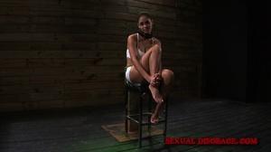 Ponytailed brunette chick in cuffs, coll - XXX Dessert - Picture 1