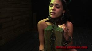 Ponytailed brunette chick in cuffs, coll - XXX Dessert - Picture 12
