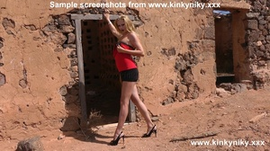 Kinky blonde in a red dress and high heels fisting her slammed asshole at the abandoned house - XXXonXXX - Pic 1