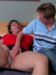 Her big BBW tits look great as he dumps his load on them - Picture 4
