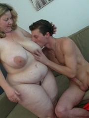 She likes the way this slender young guy makes her fat - Picture 6