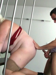 He has her bent over on the stairs and he fucks her BBW - Picture 11