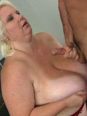 He has her bent over on the stairs and he fucks her BBW - Picture 16