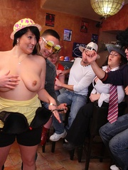 See the drunk BBWs take off their clothes and play - Picture 5