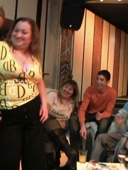 The fatty at the BBW orgy party in the bar is bent over - Picture 6
