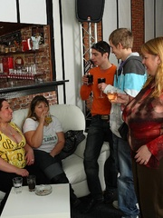 Plumper at the party is fucked and so are her fat - Picture 2